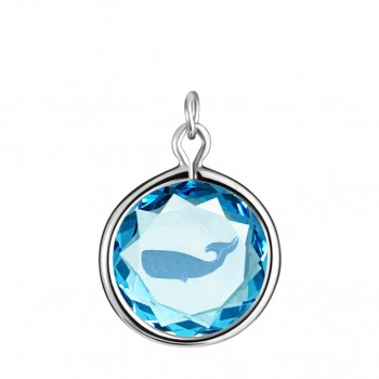Wildlife Charm: Whale in Blue Crystal & Medium Blue Enameled Engraving