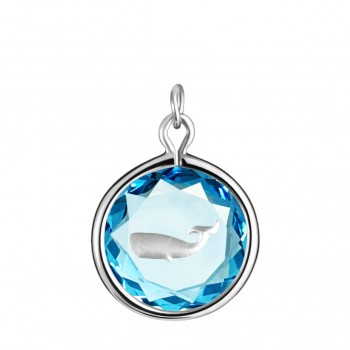 Wildlife Charm: Whale in Blue Crystal & Metallic Enameled Engraving