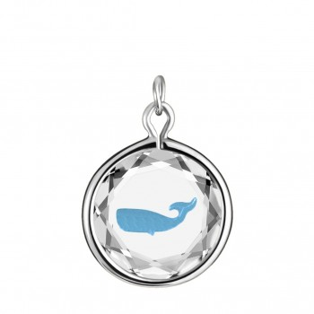 Wildlife Charm: Whale in White Crystal & Medium Blue Enameled Engraving