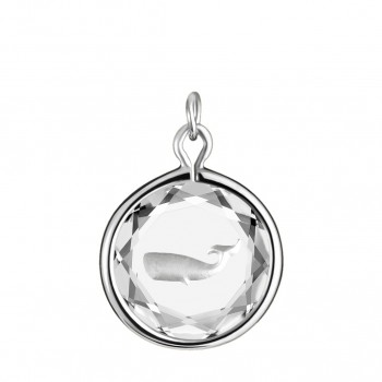 Wildlife Charm: Whale in White Crystal & Metallic Enameled Engraving