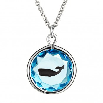 Wildlife Pendant: Whale in Blue Crystal & Black Enameled Engraving