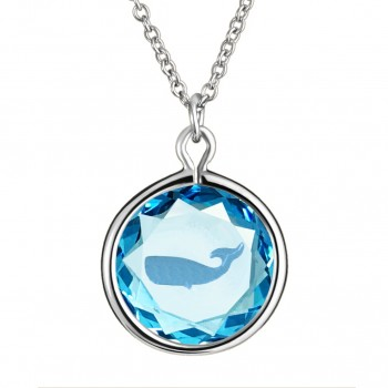 Wildlife Pendant: Whale in Blue Crystal & Medium Blue Enameled Engraving