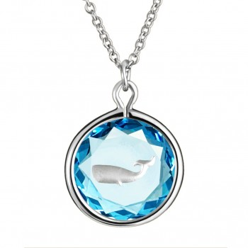 Wildlife Pendant: Whale in Blue Crystal & Metallic Enameled Engraving