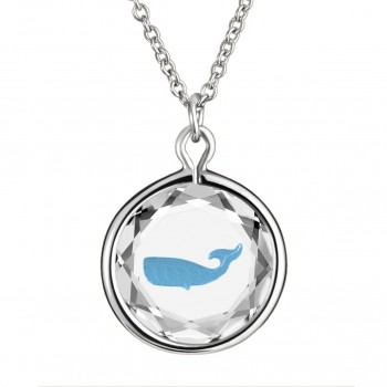 Wildlife Pendant: Whale in White Crystal & Medium Blue Enameled Engraving