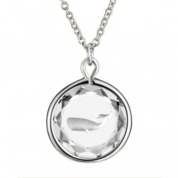 Wildlife Pendant: Whale in White Crystal & Metallic Enameled Engraving