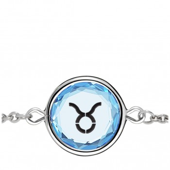 Zodiac Bracelet: Taurus in Blue Crystal & Black Enameled Engraving
