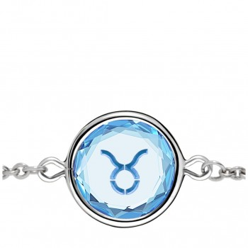 Zodiac Bracelet: Taurus in Blue Crystal & Medium Blue Enameled Engraving