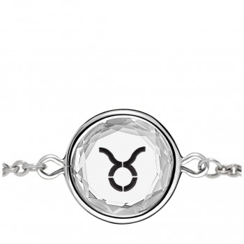 Zodiac Bracelet: Taurus in White Crystal & Black Enameled Engraving