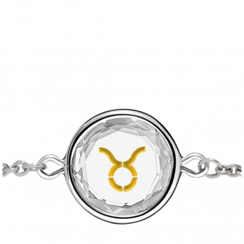 Zodiac Bracelet: Taurus in White Crystal & Gold Enameled Engraving