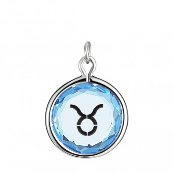 Zodiac Charm: Taurus in Blue Crystal & Black Enameled Engraving