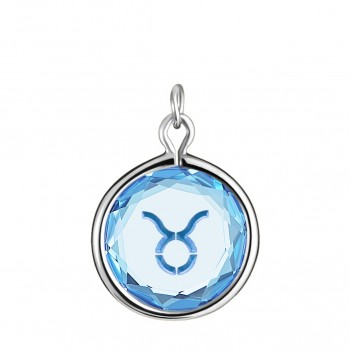 Zodiac Charm: Taurus in Blue Crystal & Medium Blue Enameled Engraving