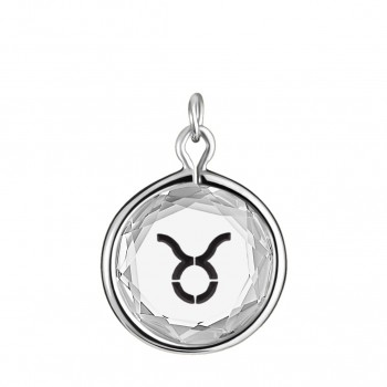 Zodiac Charm: Taurus in White Crystal & Black Enameled Engraving