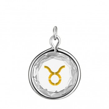 Zodiac Charm: Taurus in White Crystal & Gold Enameled Engraving
