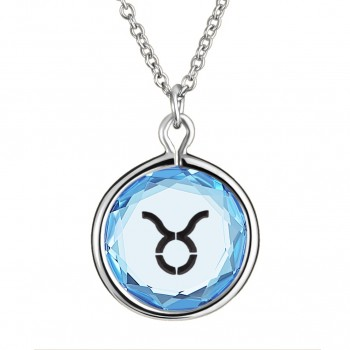 Zodiac Pendant: Taurus in Blue Crystal & Black Enameled Engraving