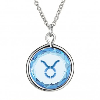 Zodiac Pendant: Taurus in Blue Crystal & Medium Blue Enameled Engraving