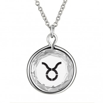 Zodiac Pendant: Taurus in White Crystal & Black Enameled Engraving