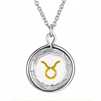 Zodiac Pendant: Taurus in White Crystal & Gold Enameled Engraving